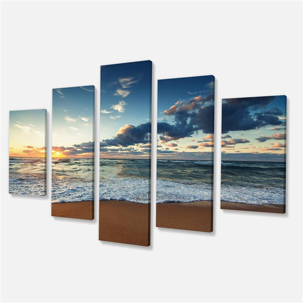 """Lever de soleil sur l'océan, tableau, 32""""x60"""", 5 pièces"""