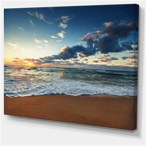 """Lever de soleil sur l'océan, tableau, 30""""x40"""""""