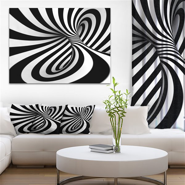 Designart Canada Black and White 30-in x 40-in Spiral Print On Canvas Wall Art