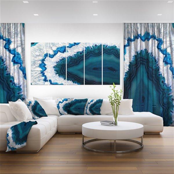 """Géode Brésilienne bleue, tableau d'art, 28""""x 60"""", 5 panneaux"""
