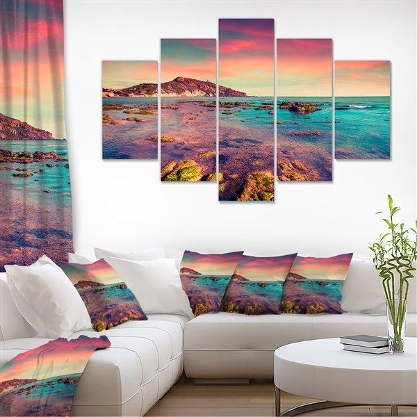 """Soleil coloré à Giallonardo, toile, 32""""x60"""", 5 panneaux"""