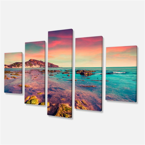 Designart Canada Giallonardo Beach Colourful Sunset 32-in x 60-in 5 Panels Wall Art