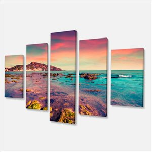 Giallonardo Beach Colourful Sunset 32-in x 60-in 5 Panels Wall Art