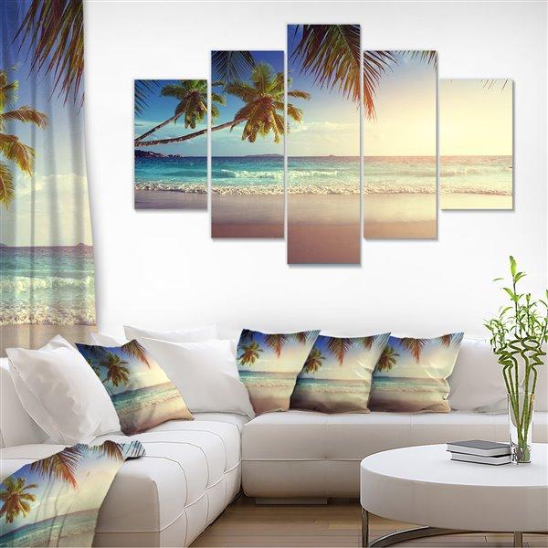 Designart Canada Sunset on Seychelles Beach 32-in x 60-in 5 Panel Wall Art