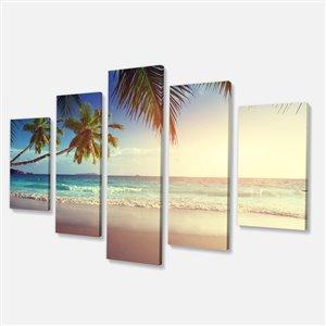 """Coucher de soleil aux Seychelles, tableau, 32""""x60"""", 5 pièces"""