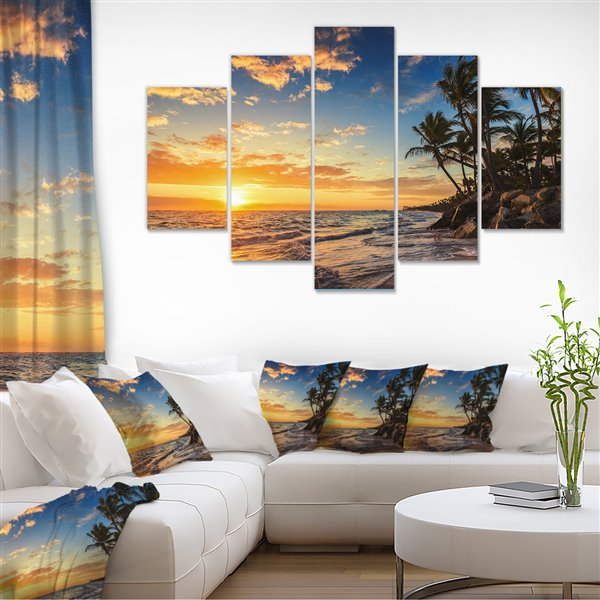 Designart Canada Island Beach with Palms 32-in x 60-in 5 panel Wall Art