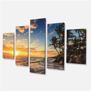 """Paradis tropical et palmiers, tableau, 32""""x60"""", 5 pièces"""
