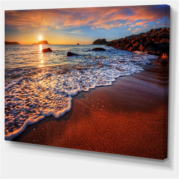 Designart Canada Stunning Ocean Beach At Sunset 30 In X 40 In Canvas Wall Art Pt14632 40 30 Rona