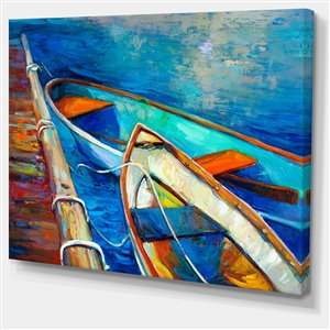 Designart Canada Boats and Pier in Blue Shade 30-in x 40-in Wall Art