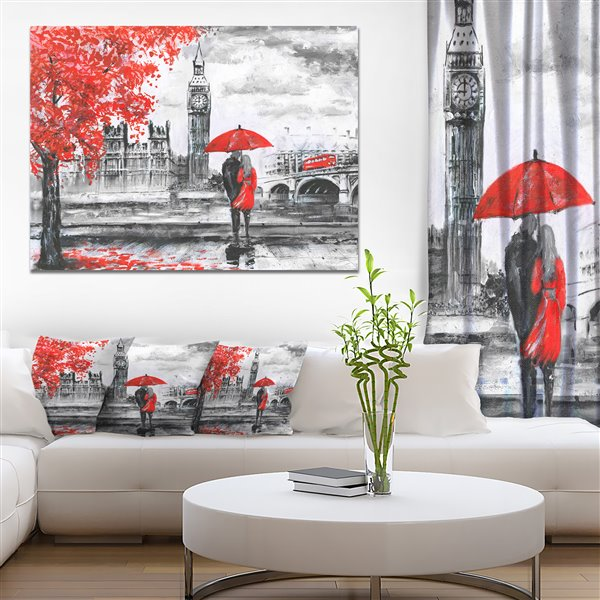 Designart Canada Couple Walking in London Print on Canvas 30-in x 40-in