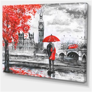 Couple Walking in London Print on Canvas 30-in x 40-in