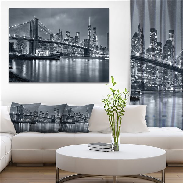 Designart Canada Panorama New York City at Night 30-in x 40-in Canvas Wall Art