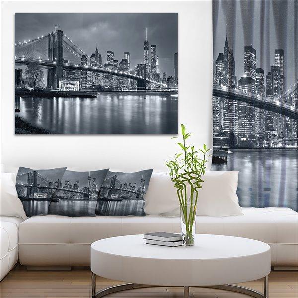 "Panorama de nuit à New York, toile, 30""x40"""