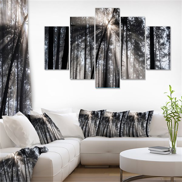 Designart Canada Sunbeams in the Forest 32-in x 60-in 5 Panel Wall Art