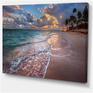 """Tableau d'art, palmiers sur plage de sable, 40"""" x 30"""""""