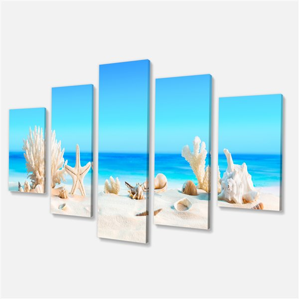 Designart Canada Seashells on Beach 32-in x 60-in 5 Panel Wall Art