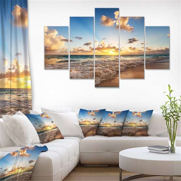 Designart Canada Sunrise on the Beach 32-in x 60-in 5 Panel Wall Art