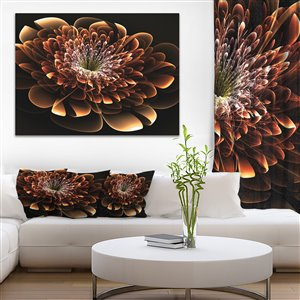 Designart Canada Brown Fractal Flower Mordern Floral 40-in x 30-in Wall Art