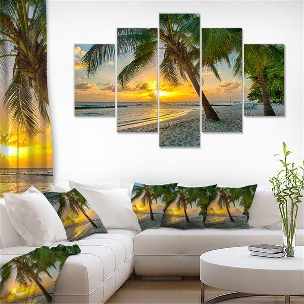 """Tableaux, plage de la Barbade - 60"""" x 32"""", 5 panneaux"""