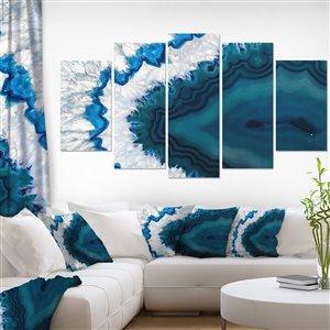 """Tableau d'art, géode bleue du Brésil, 60"""" x 32"""", 5 panneaux"""