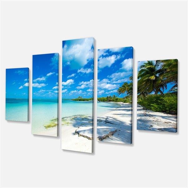 Designart Canada Tropical Beach with Palm Shadows Canvas Print 32-in x 60-in 5 Panel Wall Art