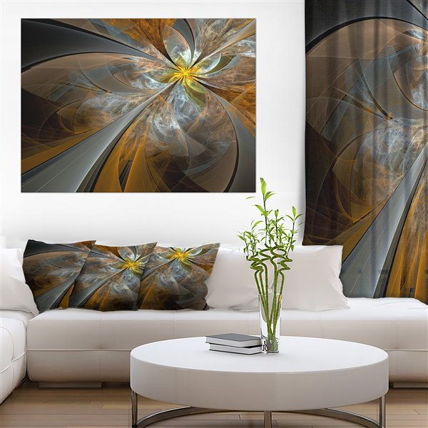 Designart Canada Symmetrical Yellow Fractal Flower 30-in x 40-in Wall Art