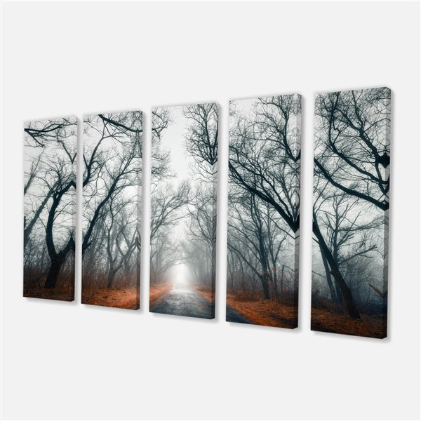 Designart Canada Mystic Road in Forest 28-in x 60-in 5 Panel Wall Art