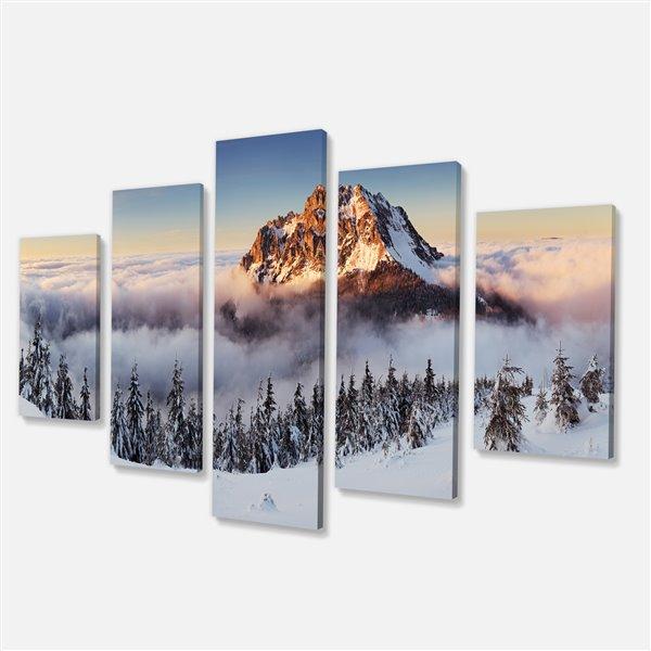 Designart Canada White Mountain Landscape 32-in x 60-in 5 Panel Wall Art