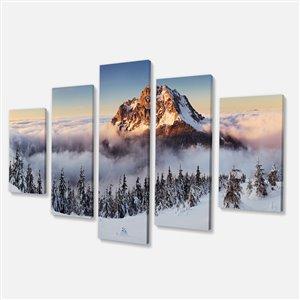 """Tableau, paysage de montagne d'hiver, 60"""" x 32"""", 5 panneaux"""