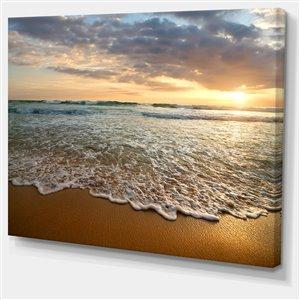 Designart Canada Bright Cloudy Sunset in Calm Ocean 30-in x 40-in Wall Art