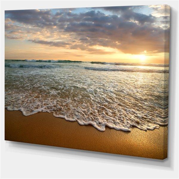 """Tableau, coucher de soleil sur océan calme, 40"""" x 30"""""""