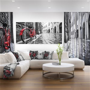 Designart Canada Vintage Red Bike Canvas Print 28-in x 60-in 5 Panel Wall Art