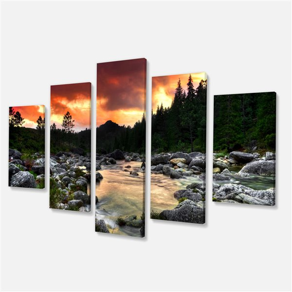 Designart Canada Rocky Mountain Sunset 32-in x 60-in 5 Panel Wall Art