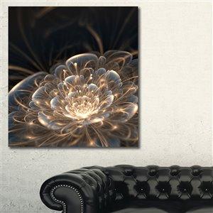 """Fleur fractale aux rayons d'or, imprimé sur toile, 30""""x40"""""""