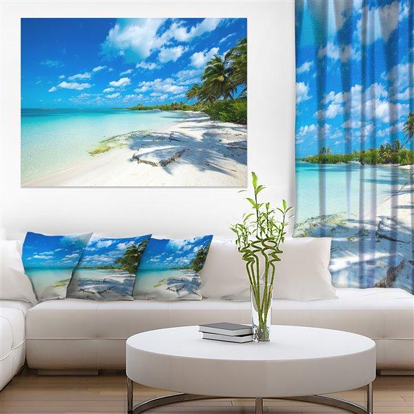 Designart Canada Tropical Beach with Palm Shadows Canvas Print 30-in x 40-in