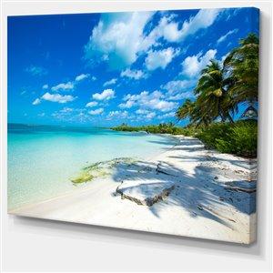 Tropical Beach with Palm Shadows -Canvas Print - 30