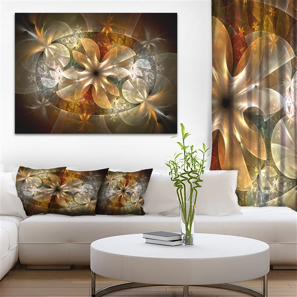 Designart Canada Fractal Flower with Ginger Details Print on Canvas 30-in x 40-in