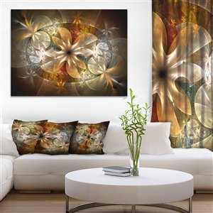 Fractal Flower with Ginger Details Print on Canvas 30-in x 40-in