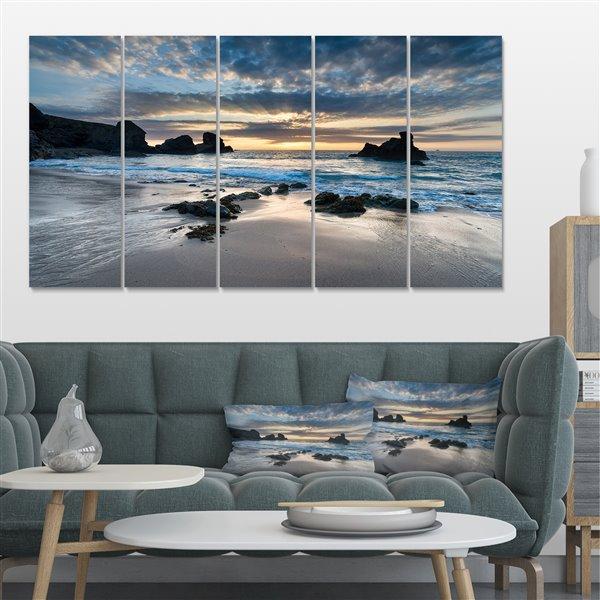 Designart Canada Porthcothan Bay Canvas Print 28-in x 60-in 5 Panel Wall Art