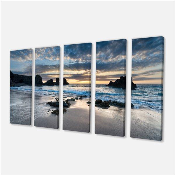 """Jolie baie de Porthcothan, toile imprimée, 60""""x28"""", 5 pièces"""