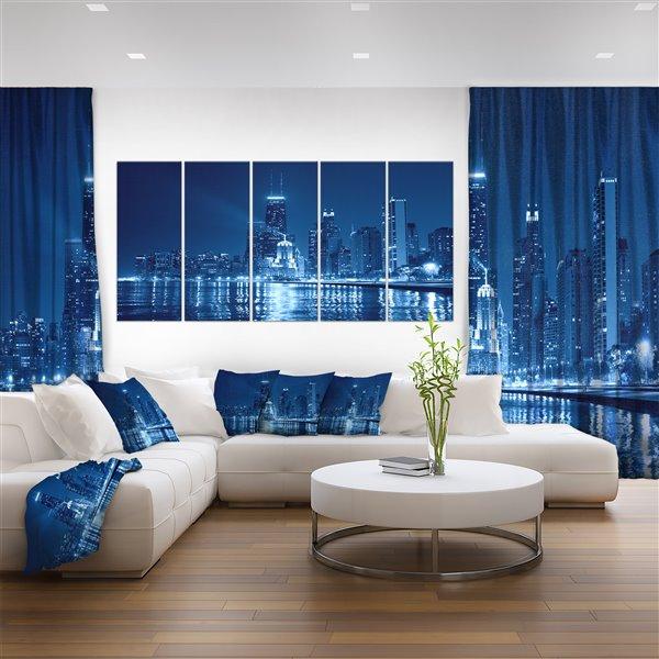 Designart Canada Blue Chicago Skyline Night 60-in x 28-in 5 Panel Canvas Print