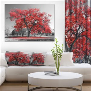Designart Canada Big Red Tree On Foggy Day 40-in x 30-in Print On Canvas wall Art