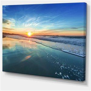 """Coucher de soleil sur la mer bleue, tableau,  30""""x40"""""""