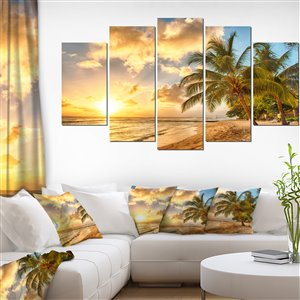 Designart Canada Gorgeous Beach of Barbados 32-in x 60-in 5 Panels Wall Art