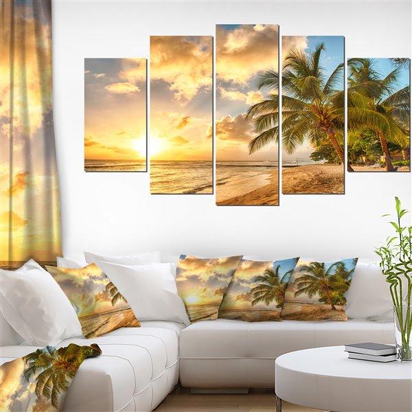"""Magnifique plage de la Barbade, tableau, 60""""x32"""", 5 pièces"""