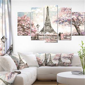 Eiffel Tower and Pink Flowers 32-in x 60-in 5 Panel Wall Art