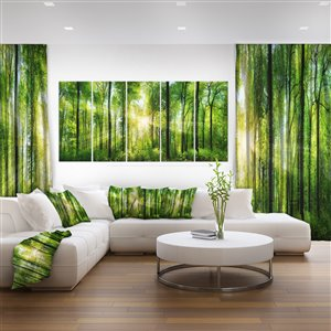 Designart Canada Sunbeams in the Forest 28-in x 60-in 5 Panel Wall Art