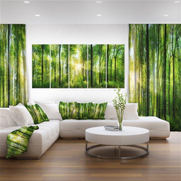 """Soleil et forêt, toile imprimée, 60""""x28''- 5 pièces"""
