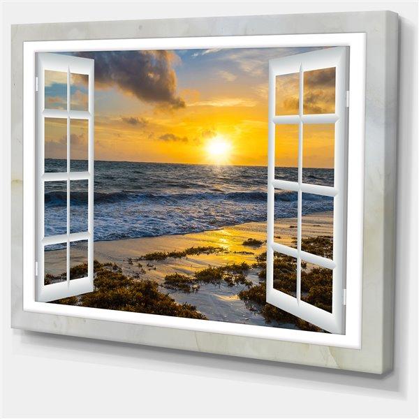 """Fenêtre ouverte sur le coucher du soleil, tableau, 40""""x30"""""""