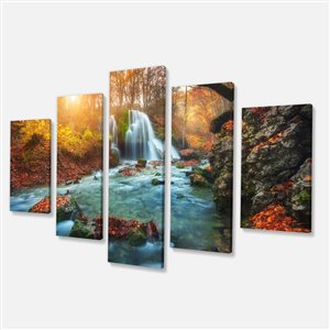 Designart Canada Fall River in Forest 32-in x 60-in 5 Panel Wall Art
